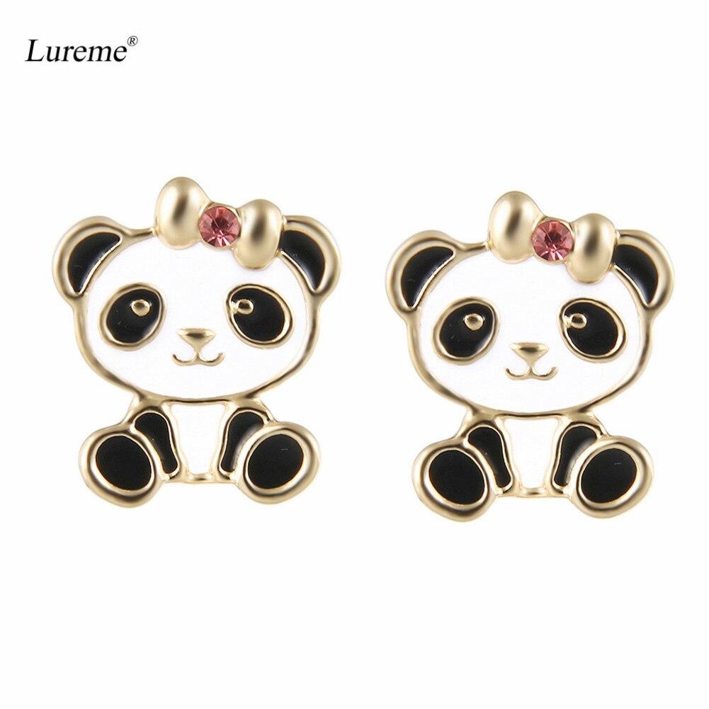 Pendientes Lureme Baby Panda con pendiente de lazo dorado para niñas adolescentes-Bow Panda (er005732-1)