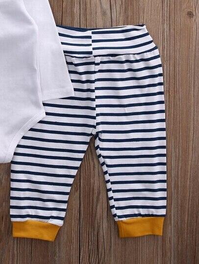 Otoño Invierno 2018 bebé recién nacido niñas niño mameluco + Pantalones Bebé Ropa de rayas