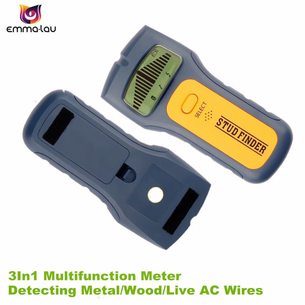 Detector de Metales portátil 3 en 1, Detector de metales con tachuelas, Detector de metales CA en vivo, escáner de pared, Detector de caja eléctrica, herramientas de detección