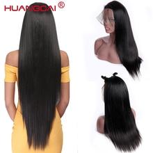 Peluca de cabello humano liso para mujer, postizo de encaje Frontal 360 prearrancado con pelo de bebé, 150% brasileño, Remy