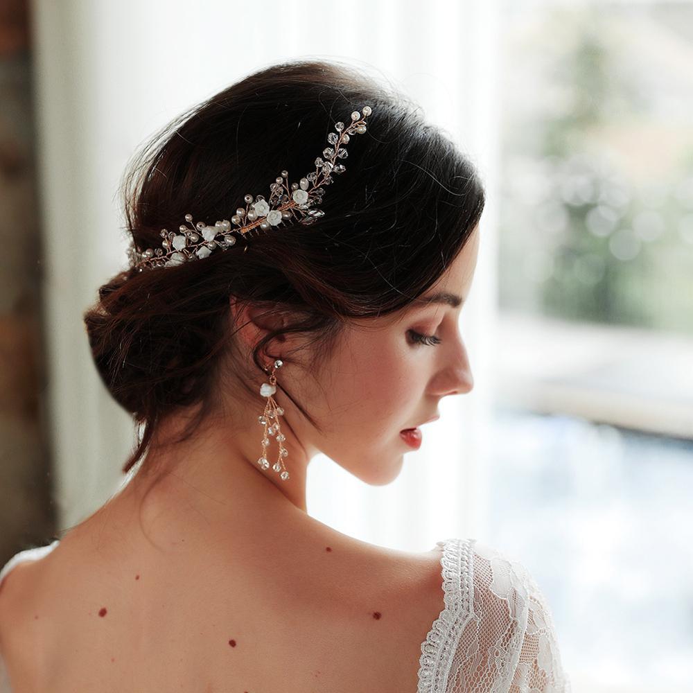 Perlas hechas a mano peine para el pelo de la novia nupcial...