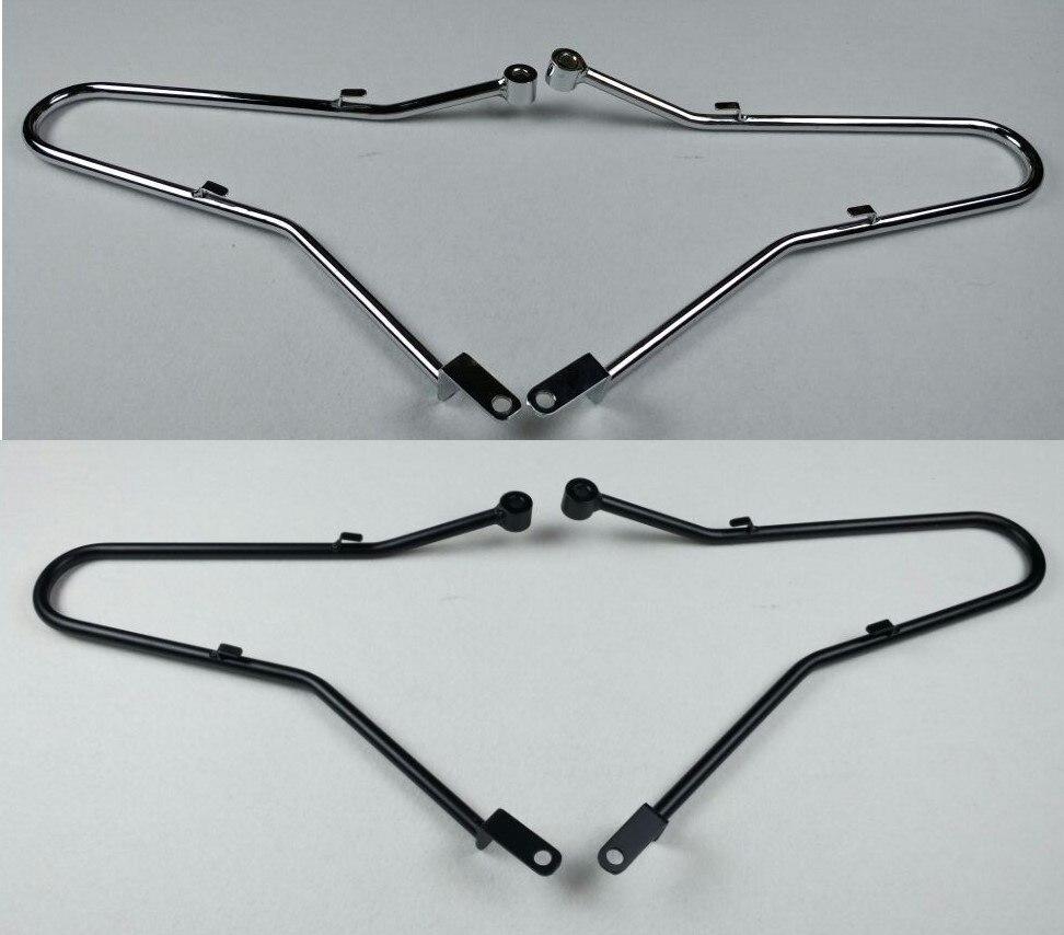 Alforja soporte barras de protección rieles Pannier para Triumph Bonneville SE T100 Thruxton Scrambler negro/cromo 2001-2015 01-15