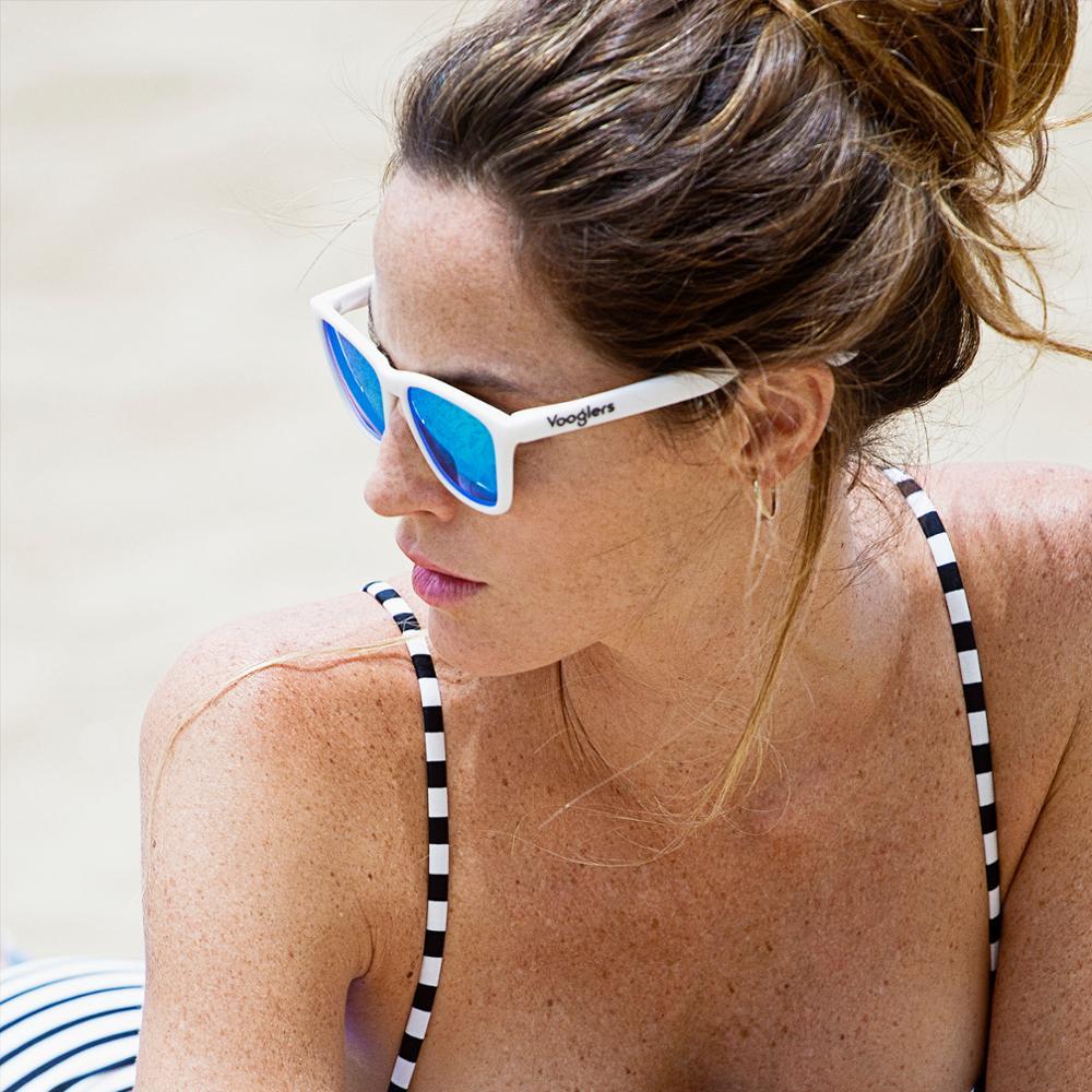 Sunglasses men Women You polarized UV400 Vooglers Ibiza Dance saddle fitting White Crystals Blue Sky