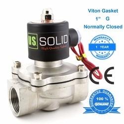 """Us solid 1 """"3/4"""" 1/2 """"válvula solenóide elétrica de aço inoxidável normalmente fechado 24 v 12 v dc 24 v 110 v ac, g bsp linha"""