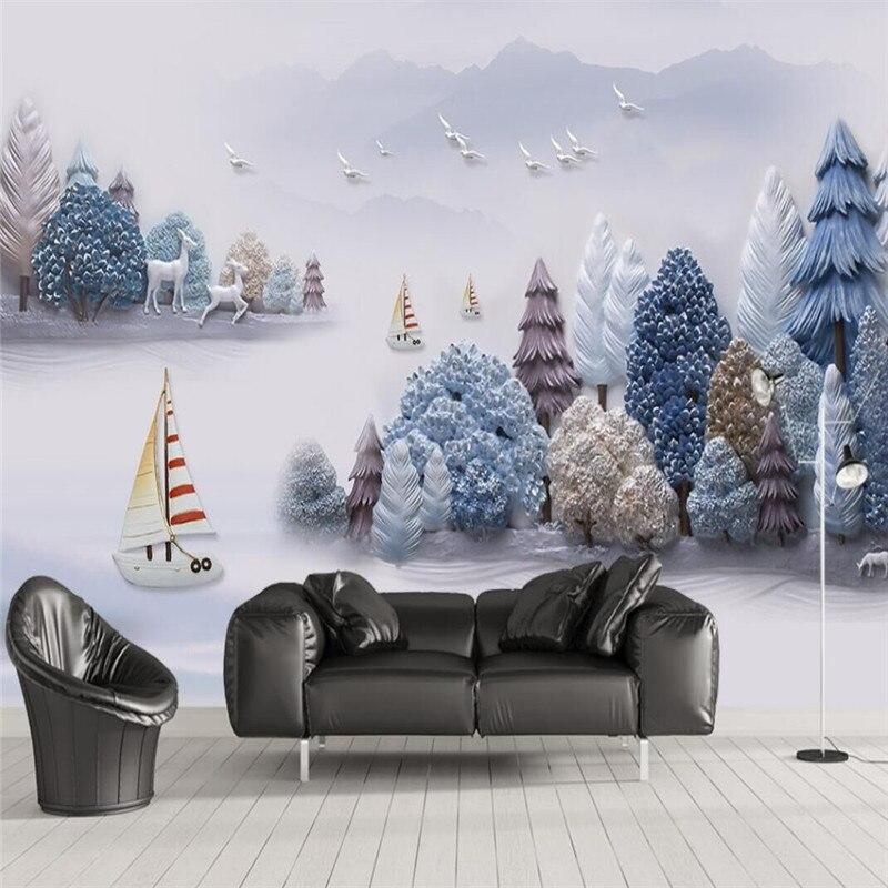 3D embossed artistic landscape landscape scenery wall decoration painting custom wallpaper mural