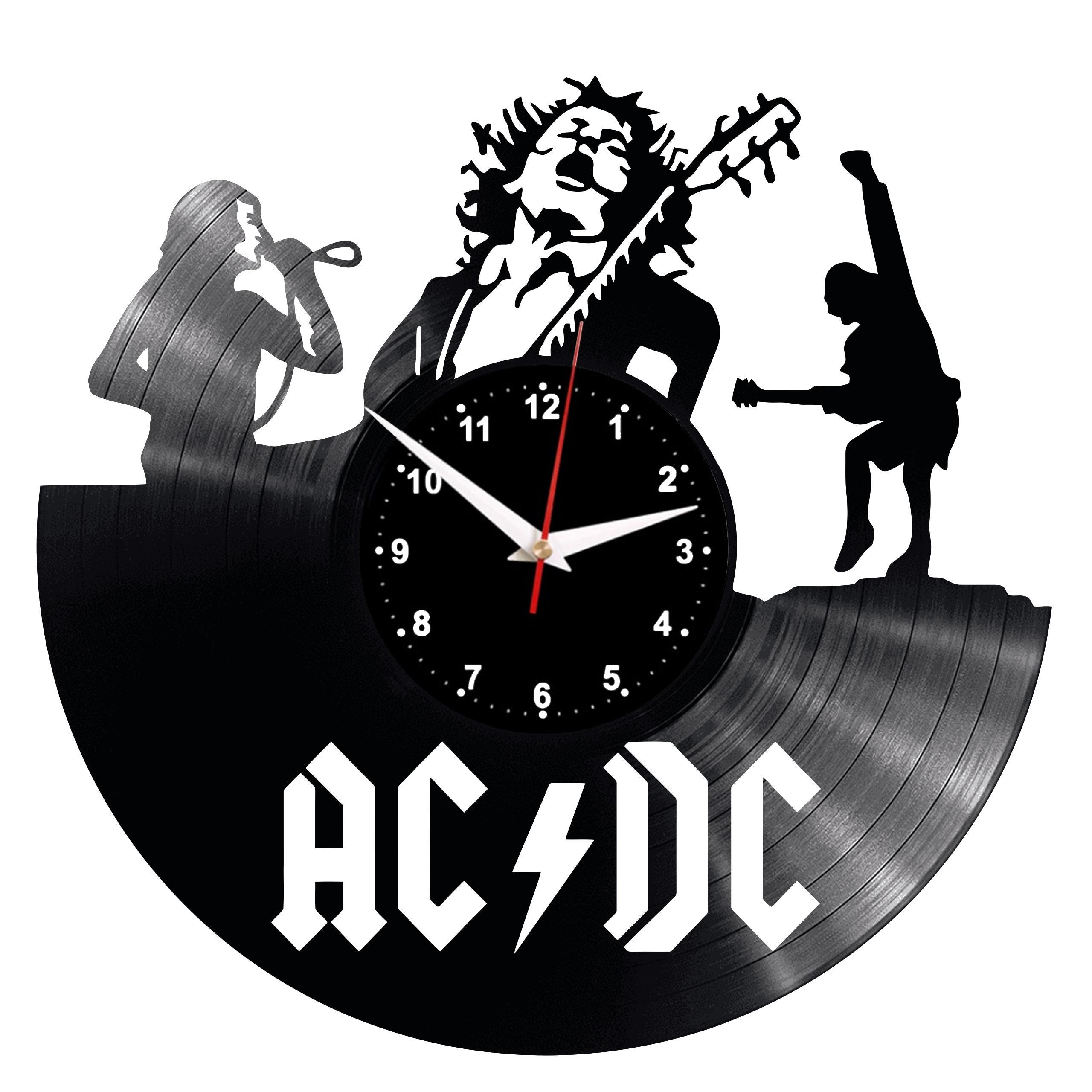 Reloj de pared ACDC, reloj Retro de vinilo con registro hecho a mano, regalo Vintage, decoración para habitación, hogar, gran reloj de regalo
