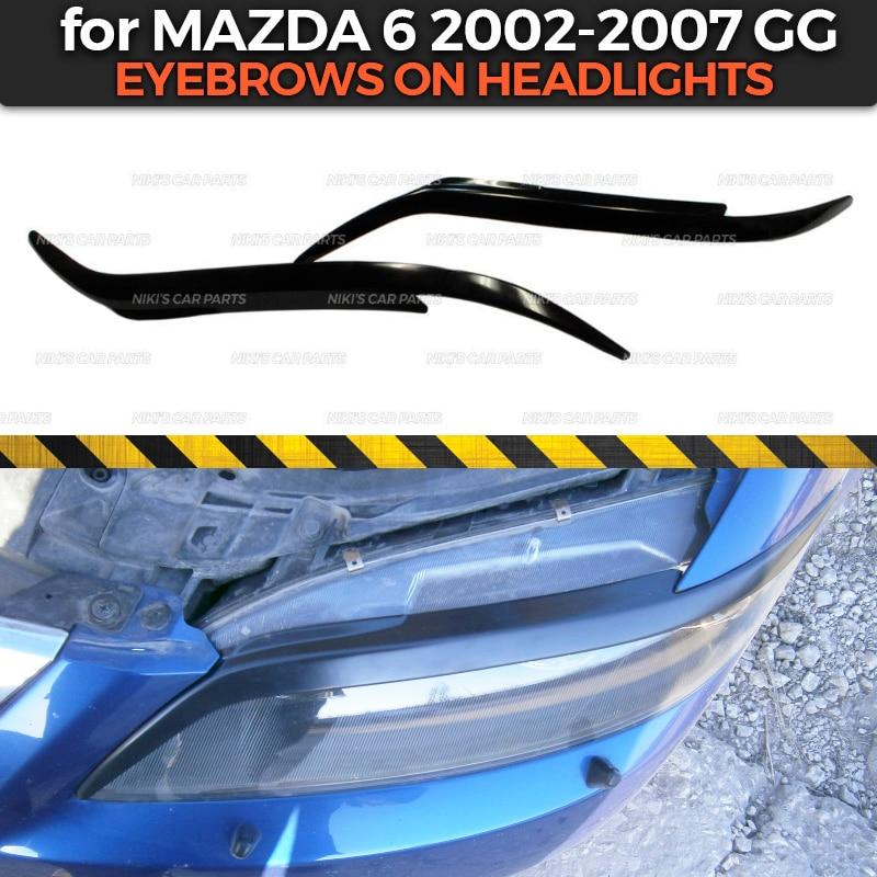 Sobrancelhas em faróis caso para mazda 6 gg 2002-2007 abs plástico cílios cílios moldagem decoração estilo do carro tuning