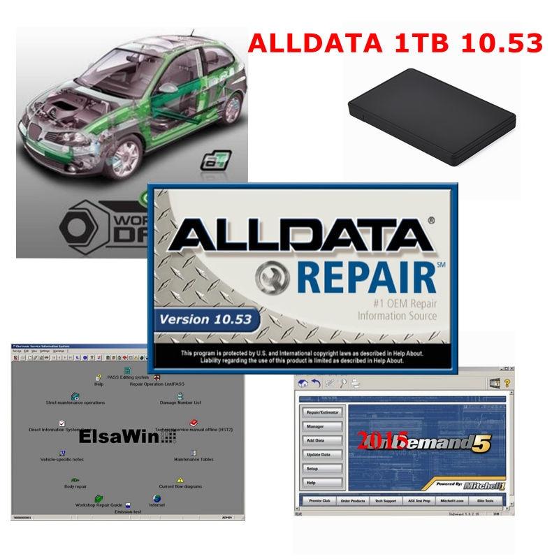 2020 gran oferta coche Software de reparación Alldata 10,53 Mit/chell OD5 2015V 1TB de disco duro HDD alldata de reparación de automóviles de software