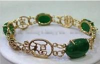 beautifulnatural green jades inlay link jewelry bracelet 7 5 aaa gradeselling girls jades bracelet free shipping