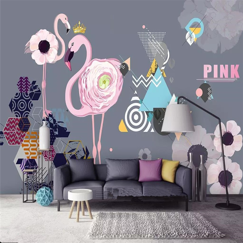 Simple pink flamingo geometry TV background wall custom large wallpaper mural 3D photo factory wholesale