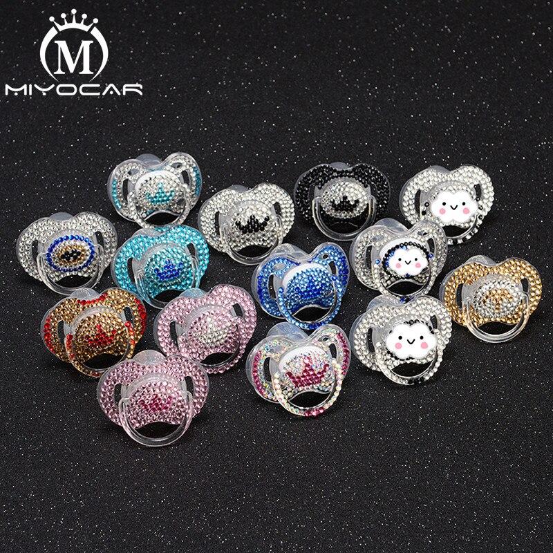 Hermoso Diamante de imitación Rosa MIYOCAR con crown Prince style bling chupete/pezones/Dummy /cocka /chupeta baby gift para baby shower