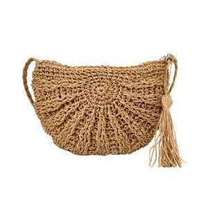 Female Bohemian Handbag Ladies Summer Beach Straw Bags Travel Women Tassel Shoulder Bag Casual Handmade Weave Crossbody SS3079