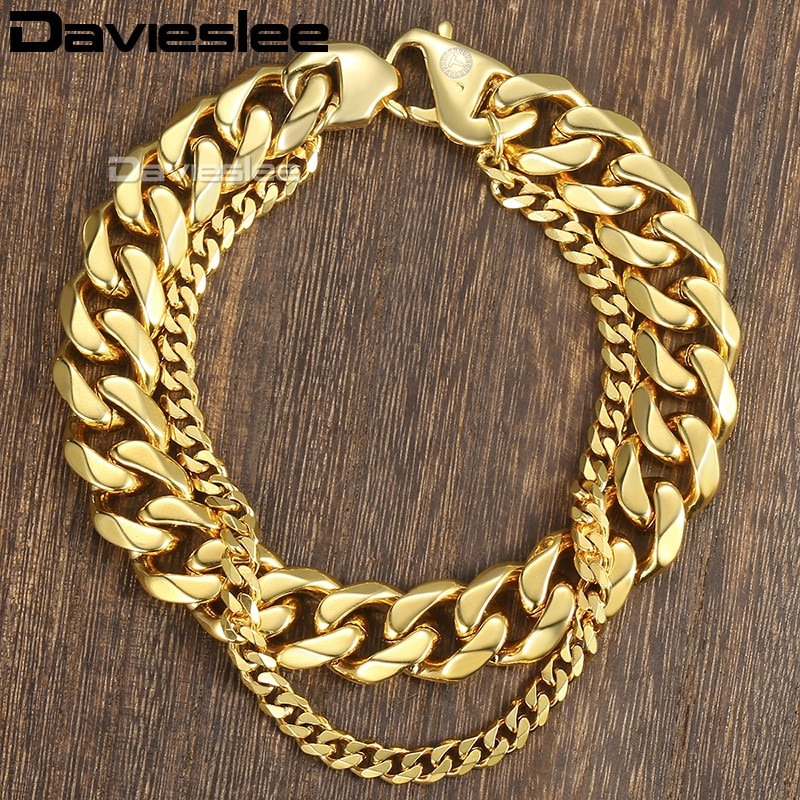 Davieslee, caja cubana con eslabones de trigo, cadena para hombre, doble capa, acero inoxidable, Color dorado, plateado, 10-14mm, DDBM01B