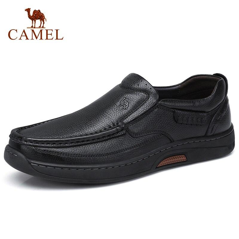 أحذية رجالي الجمل مع الفراء الأعمال عادية حقيقية أحذية من الجلد حذاء رجالي عالية مرنة مقاومة المطاط الأحذية رجل الشقق