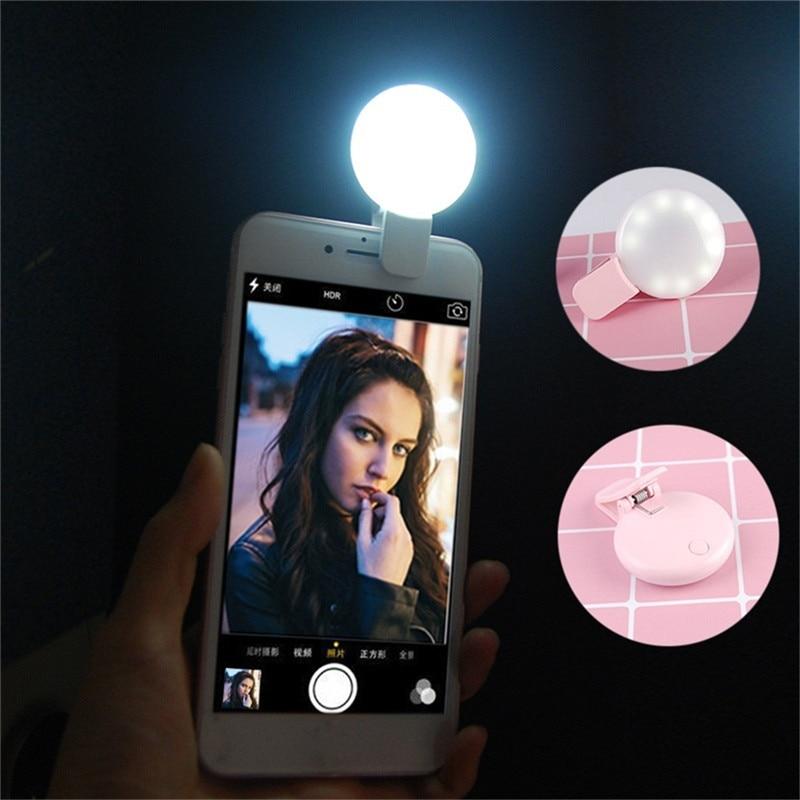 Mini Selfie portátil Flash Led Cámara Clip-on Mini móvil Selfie para teléfono anillo de luz Video noche que mejora la luz de relleno Selfie Accesorios