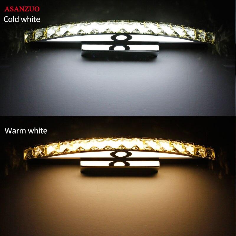 110V220V Bathroom Mirror Front Light LED Stainless Steel Crystal Wall Make-up lamps Bathroom Lights 44cm or 54cm Long
