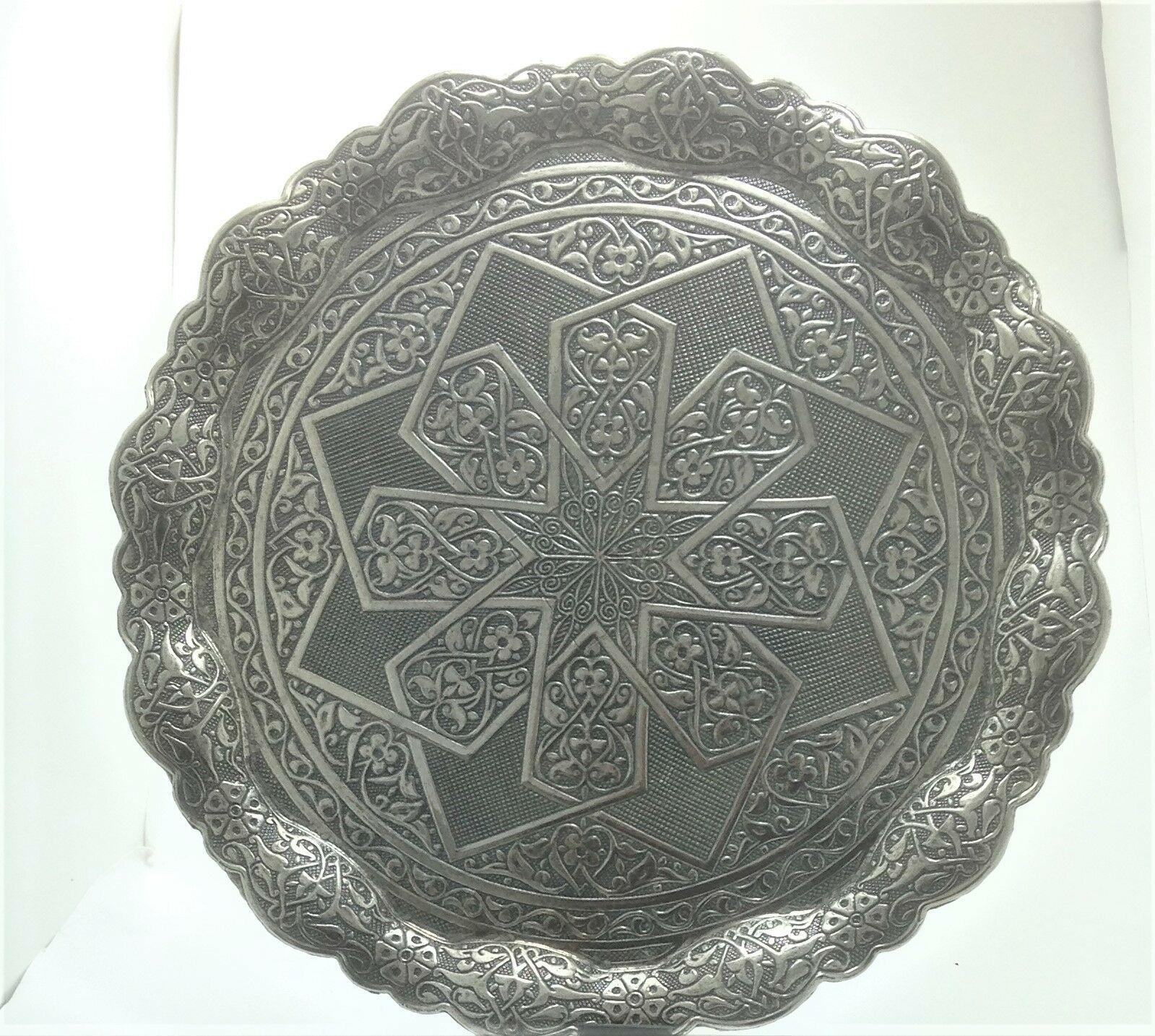 Bandeja de servicio redonda decorada de Metal, auténtica, marca la diferencia, diseño raro
