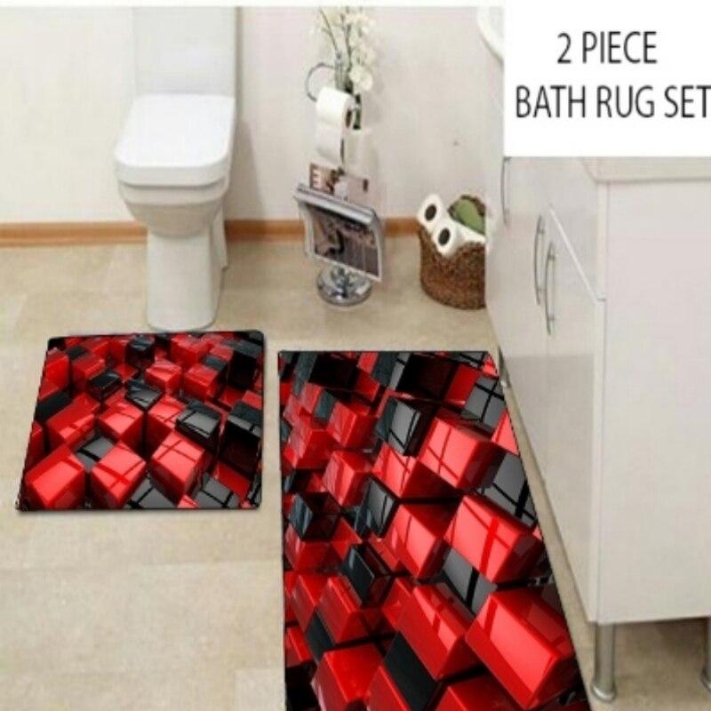 آخر أحمر أسود مجردة مكعبات صناديق الحديثة 2 قطعة ثلاثية الأبعاد نمط طباعة حمام الحصير مكافحة زلة لينة قابل للغسل الحمام حصيرة المرحاض السجاد