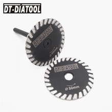 DT-DIATOOL 2pcs mini diamond saw blade removable 6mm shank Turbo cutting disc for granite marble stone concrete