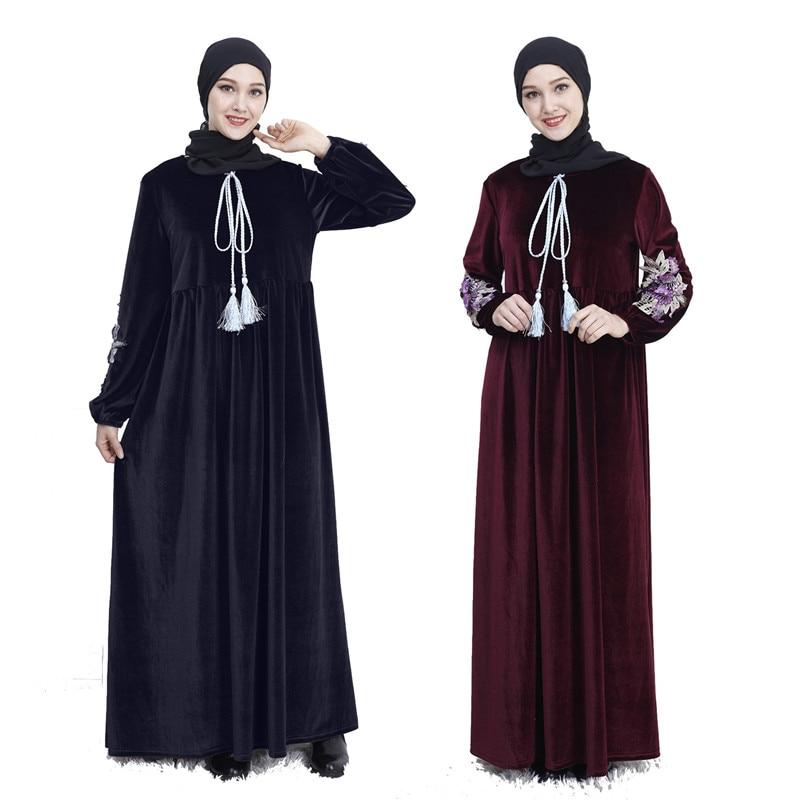 Abaya Dubai Vestido Dos Muçulmanos Kaftan Kimono Robe Musulmane Bangladesh Vestuário Islâmico Caftan Marocain Turco EMIRADOS ÁRABES UNIDOS Eid Presente Parte 2019