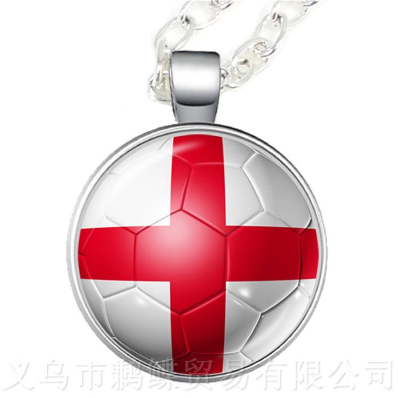 Collar con colgante de cúpula de cristal para copa de fútbol Columbia, Francia, Costa Rica, Inglaterra, Irán, España, Uruguay, Túnez, recuerdos de la copa de fútbol 2018