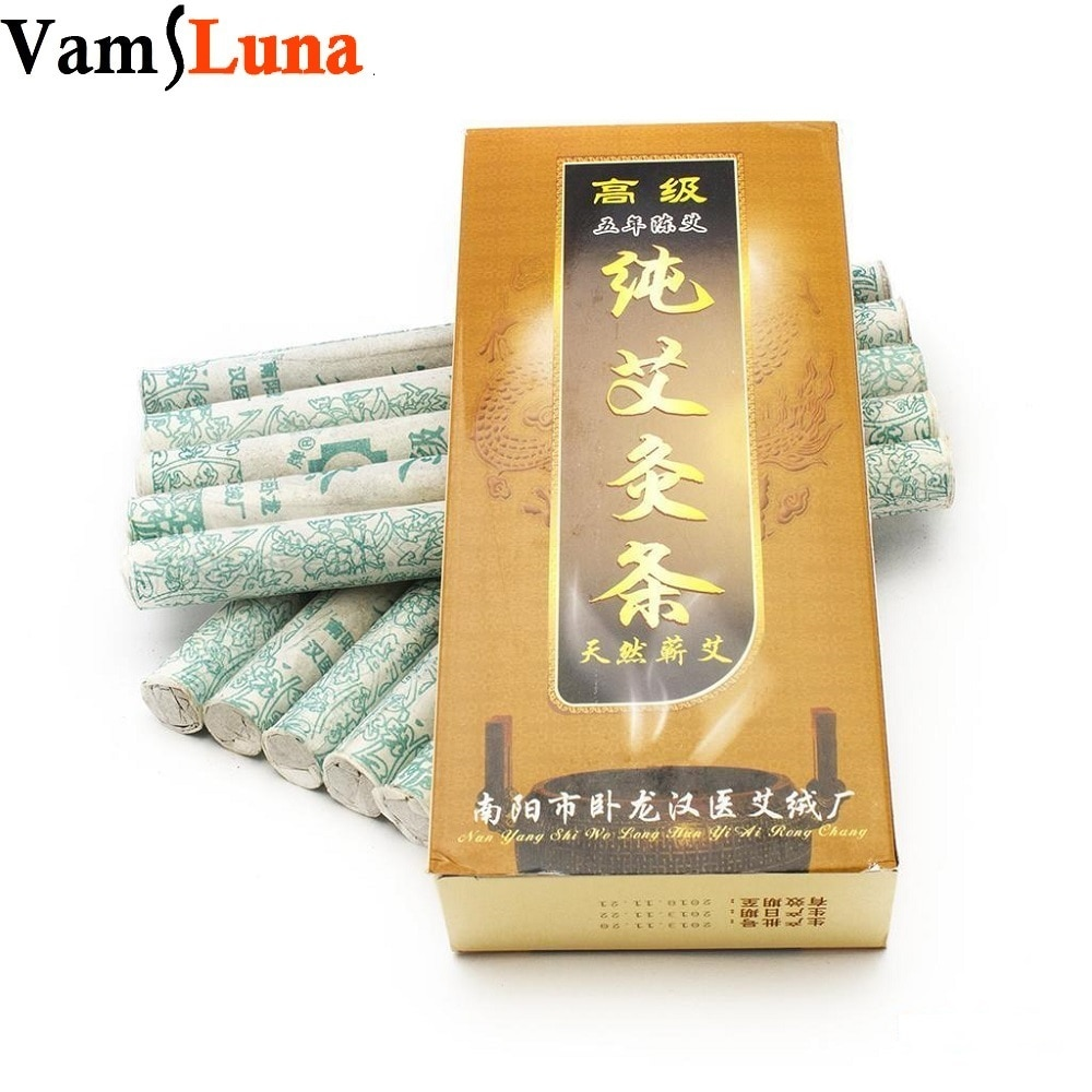 10 Pure Moxa Stick Rolls Burn Wood - Traditional Chinese Massage Therapy For Antistress & Acupuncture