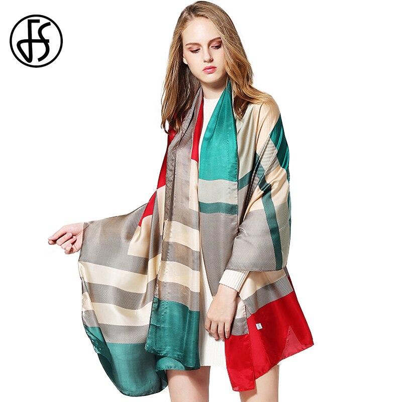 FS bufandas de seda geométricas de alta calidad, bufandas para mujeres, bufanda de diseñador, Echarpes Hijab, chales y chales de lujo, Pashmina
