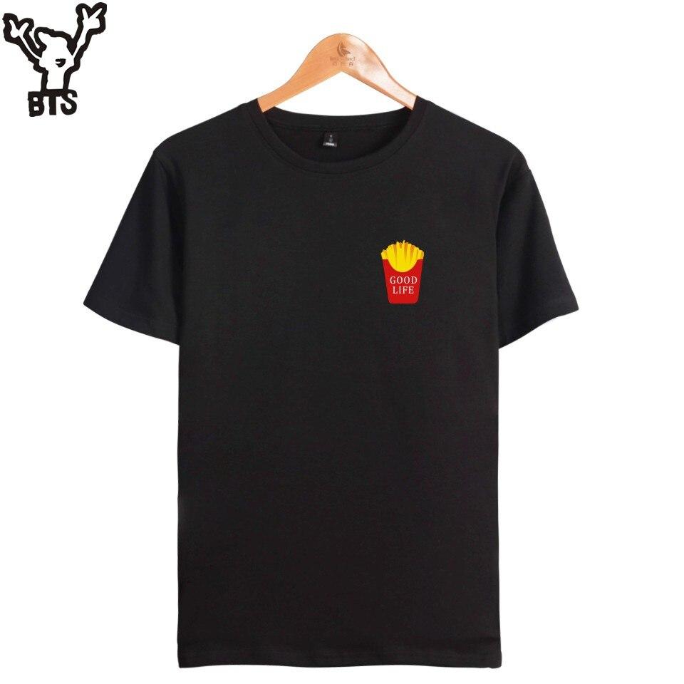 Женская хлопковая Футболка с забавным принтом KPOP Good Life, летняя футболка с коротким рукавом, черная Повседневная модная футболка с логотипом
