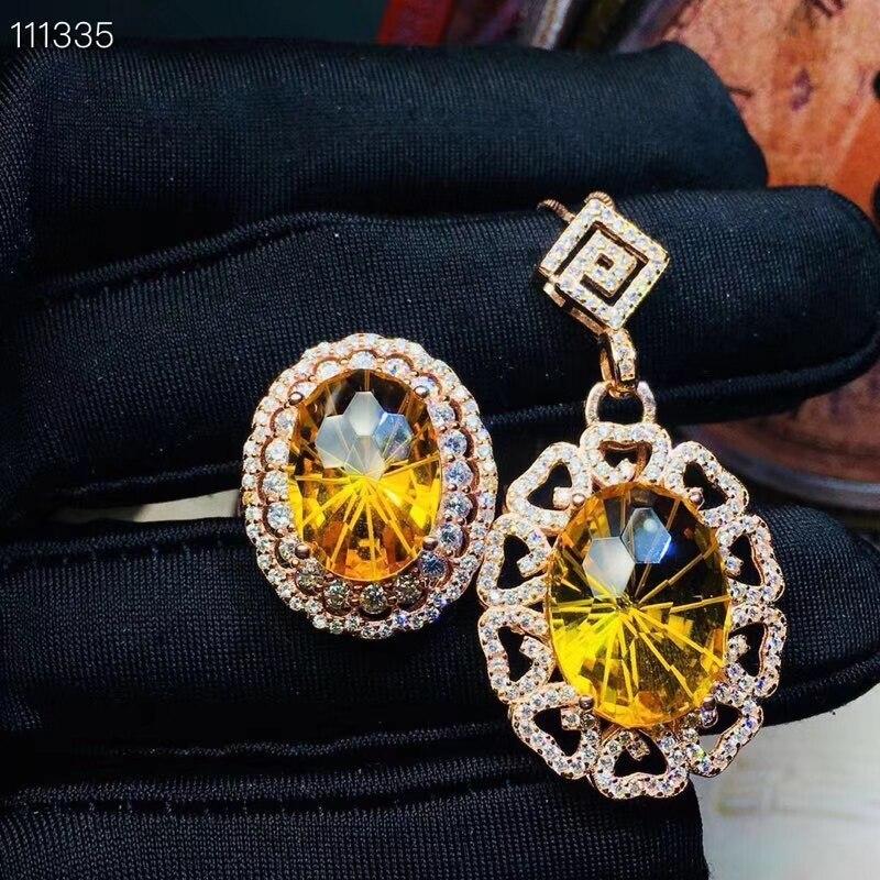 KJJEAXCMY exquisite schmuck 925 sterling silber eingelegten Topas Anhänger Halskette Ring anzug unterstützung erkennung