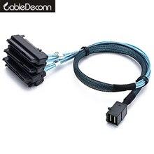 Câbles sata sas SFF-8643 Mini connecteurs internes SAS HD à (4) 29pin SFF-8482 avec Port dalimentation SAS 15pin câble 12 GB/S