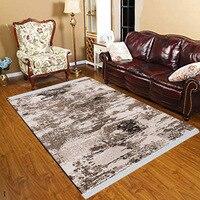 Else Brown White Black Abstract Watercolor Vintage 3d Print Anti Slip Kilim Washable Decorative Kilim Tassel Rug Bohemian Carpet