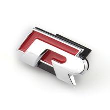 Передняя хромированная красная R линия значок наклейка гриль эмблема, наклейка с логотипом Металл для VW Golf Jetta Passat