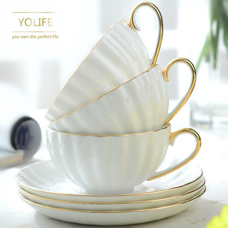 النبيل العظام الصين فنجان القهوة الخزف الشاي الحليب كوب الإبداعية الشاي مجموعة لهدية 200 مللي