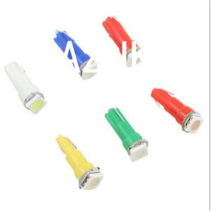2 шт. T5 светодиодный 17 37 73 74 SMD 5050 авто светодиодный лампы приборной панели автомобиля инструмент: клин светильник лампочка 12V белого и синего цвета цвет красный, желтый зеленый