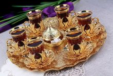 Set for 6 Handmade Copper Turkish Tea Water Zamzam Serving Glasses Saucer