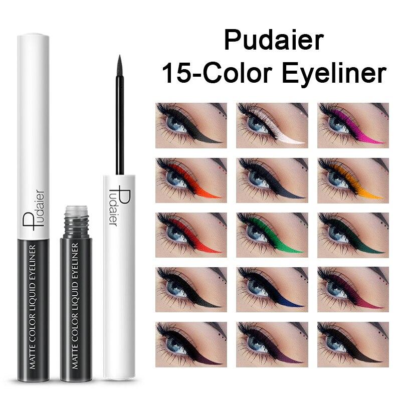 Delineador de ojos líquido colorido de Pudaier, lápiz de ojos impermeable, pigmento mate, Delineador de ojos, pluma para maquillaje de ojos, Delineador de ojos TSLM2