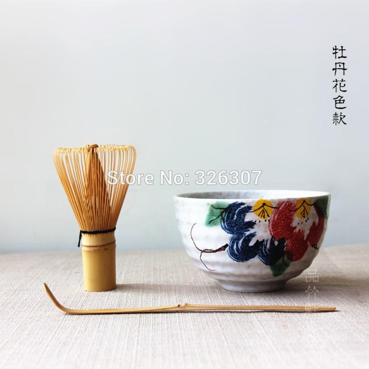 Japão handmade batidor kit maccha matcha whisk batedor tigela peônia jogo de chá colher de chá Japonês accessoriestree colher matcha abastecido