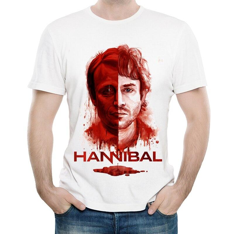 Hannibal T camisa para hombre manga corta moda América Drama Hannibal alces camiseta camisetas blanco Hannibal camiseta