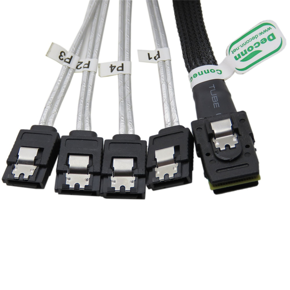 SAS sata cable SFF-8087 Mini SAS 4i 36P to 4SATA 7Pin black Cable 50CM