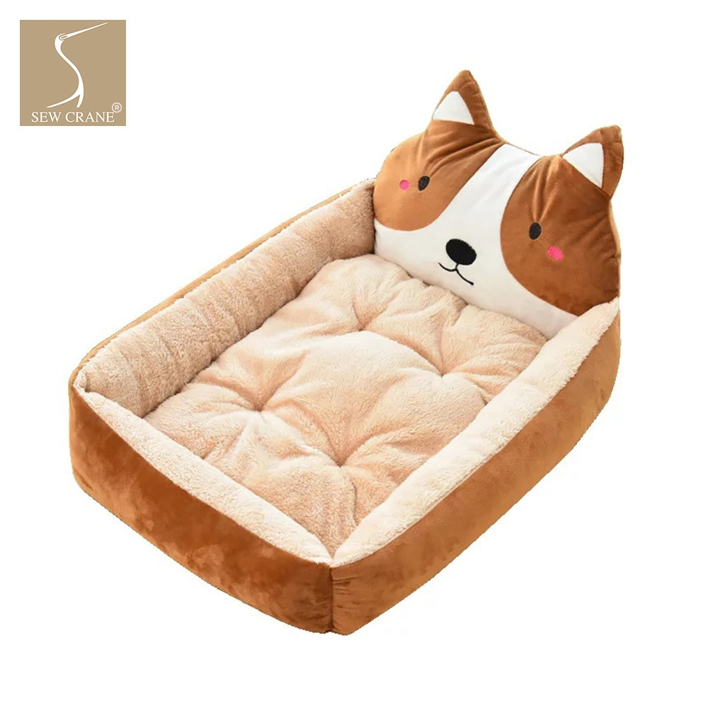 SewCrane de felpa de gamuza linda cara de Animal cómoda cama de perro cachorro gato cesta de dormir con almohada extraíble