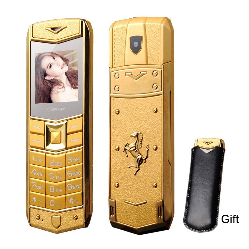 Mafam a8 russo árabe espanhol francês vibração luxo metal corpo logotipo do carro duplo sim telefone móvel com caso de couro livre