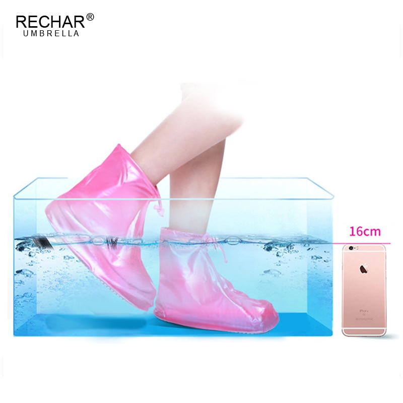 2 Pieces Kid Rain Boots Reusable Adult Waterproof Protector Shoes Boot Cover Unisex Zipper Rain Shoe Covers Anti-Slip Rain Shoes
