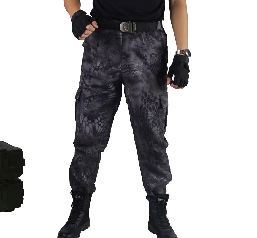 Carga cs calças preto python militar calças de poliéster tático camuflagem pant caça tiro roupas pesca calças deserto