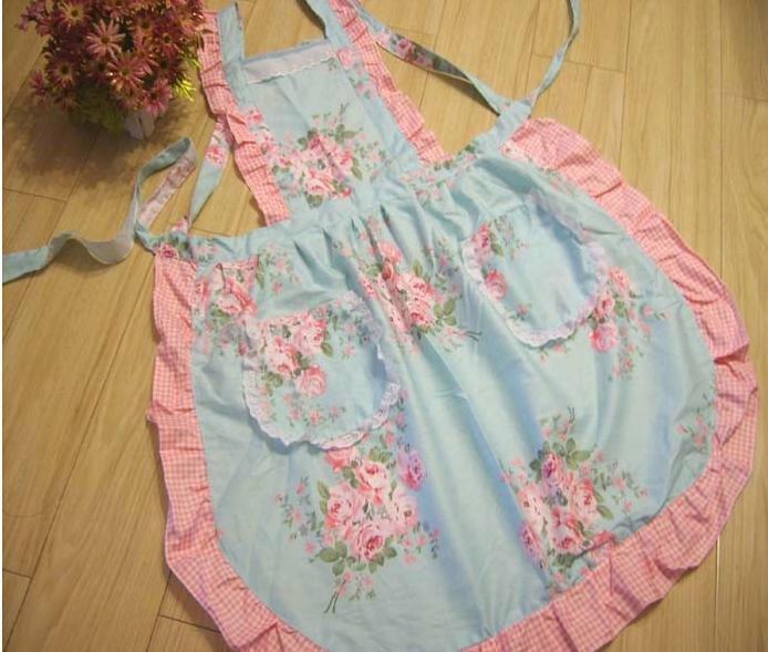 Estilos Retro azul Rosa flor señoras de cocina para hornear delantal