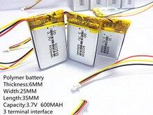 1.0 MILÍMETROS conector 3pin 3.7 V bateria de polímero de lítio 602535 062535 600 mah o gravador de vídeo 388