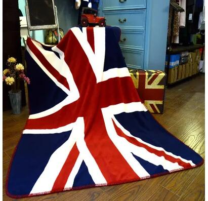 large UK/ US National flag flannel throw blanket British style super soft coral fleece blanket king size mantas adulto para