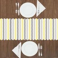 Else Gray White Yellow Line Stripes Geometrics 3d Print Pattern Modern Table Runner for Kitchen Dining Room Tablecloth