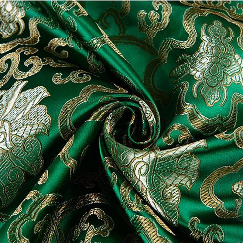 Alta qualidade importado estilo americano verde brocado moda tecido usado para estofando costura vestido saia de roupas femininas por metro