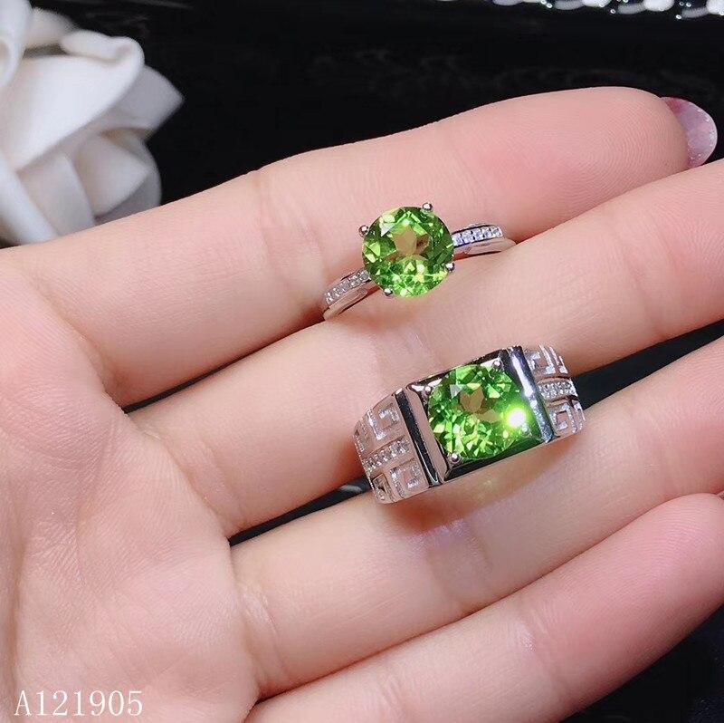 KJJEAXCMY, joyería de boutique, gemas de peridoto naturales con incrustaciones de plata de ley 925 para hombres y mujeres, anillo de lujo para parejas, soporte ide