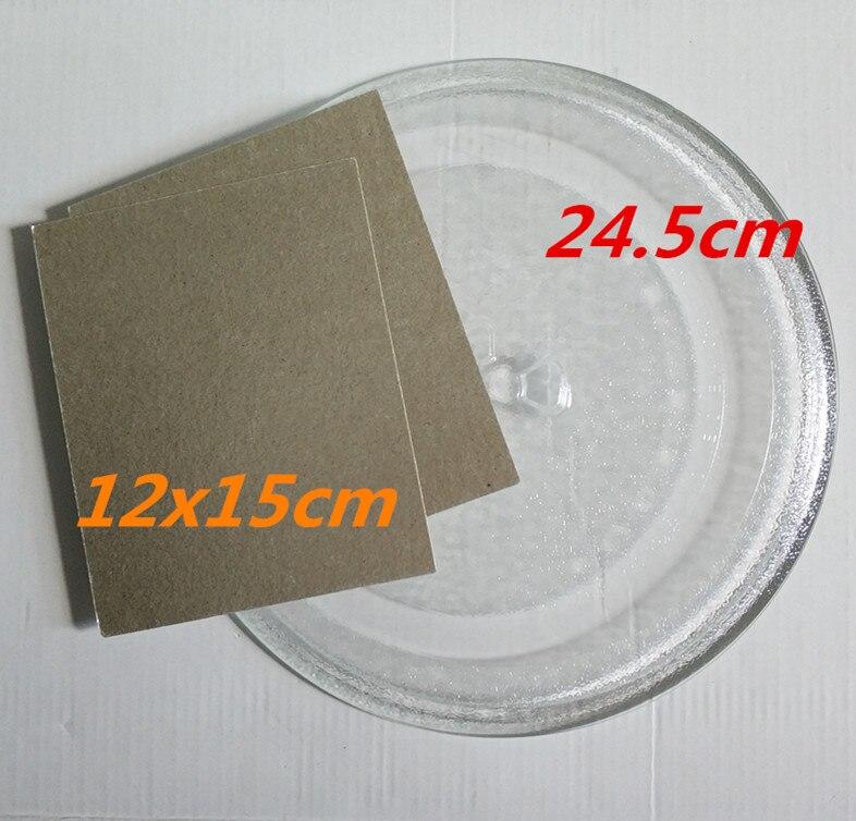 الدائر صينية 24.5 سنتيمتر Y نوع الميكروويف الزجاج لوحة + 2 قطعة 12x15 سنتيمتر الميكا لوحة لالميكروويف فرن المايكرويف قطع الغيار